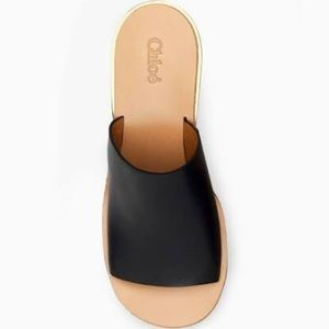 Chloé Camille black leather wedge sandals